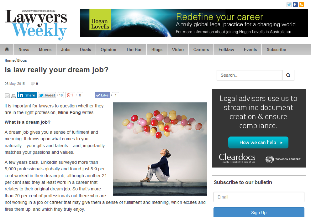 Is Law Really Your Dream Job? – Lawyers Weekly Online, May 2015